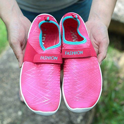 AMAWEI Womens Beach Shoes Barefoot Quick Drying Aqua Water Sports Aqua Shoes Pink CQrdU