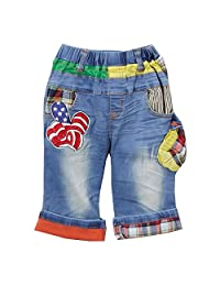 Rock'nStyle Baby Boys Blue American Flag Applique Details Denim Shorts 18-24M