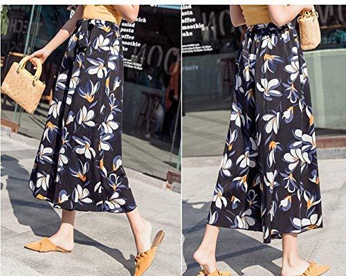 Eleganti Estivi 5 Waist Pantaloni Pantaloni Donna Chiffon High Leggero Moda Colore Basic Larga Pantaloni Libero Mare Gamba Tempo Palazzo Pantaloni Sciolto Accogliente Stampate Ragazza Boho PPUSqfExw
