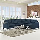 Modway Empress Mid-Century Modern Upholstered Fabric Sectional Sofa Set In Azure For Sale