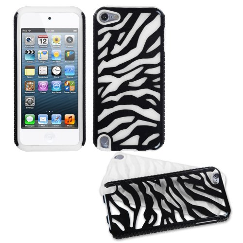 Asmyna Natural Black Zebra Skin/Solid White Fusion Protector Cover for iPod touch 5 - Laser Silicone Skin Zebra