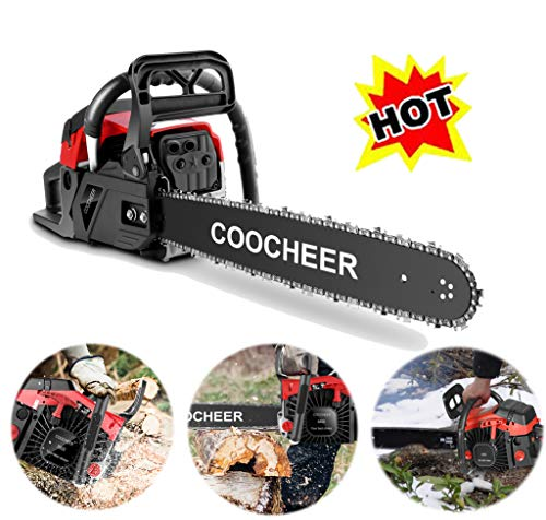 OppsDecor COOCHEER XP2300 58cc Gas Powered Chainsaw, 20 Inch 2 Stroke Handed Petrol Gasoline Chain Saw for Cutting Wood with Carry Bag,Garden Farm Home Use (US Stock) (NEW-58CC-Red)