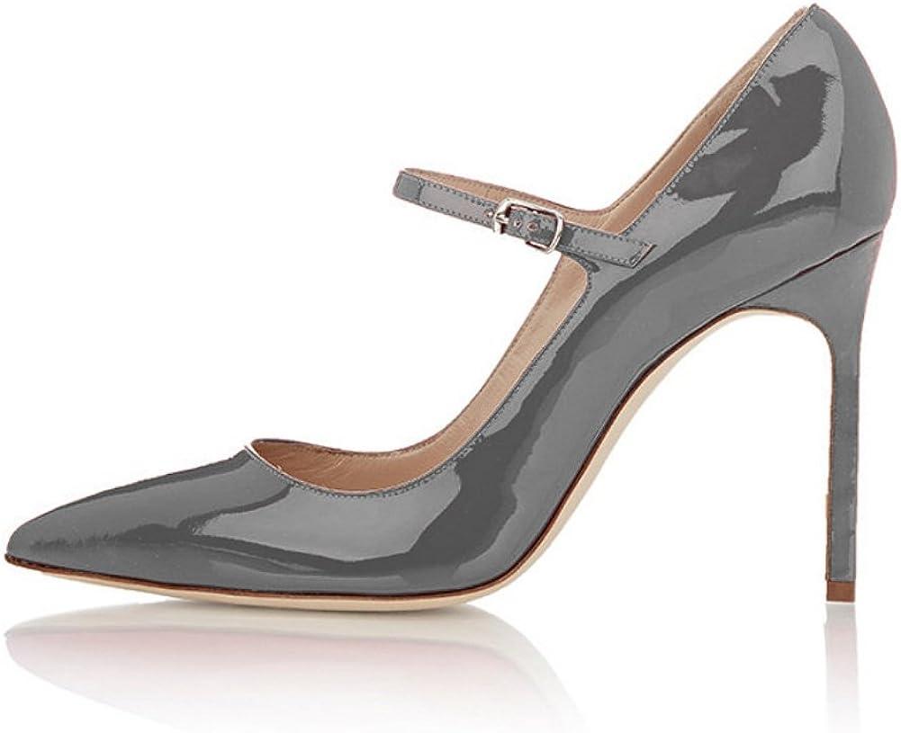Lani/ères Femme Escarpins Femme Bout Pointure ferm/é EDEFS Talons Hauts Aiguilles Mary Janes Chaussure