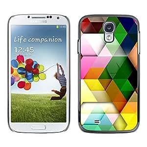 Caucho caso de Shell duro de la cubierta de accesorios de protección BY RAYDREAMMM - Samsung Galaxy S4 I9500 - Polygon Pattern Pastel Colorful 3D