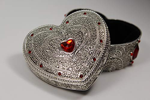 [GiftsNMemories (S) Heart Silver Plated Jewelry Box with Gemstones, Red] Wedding Ring Box, Ring Bearer Pillow, Gemstone Jewelry Box, Engagement Gift, Favor Box, Trinket Dish (Box Plated Jewelry Silver)