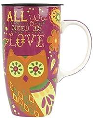 Karma, by Stephen Joseph KA140976 Happy Trails Owl Travel Mug, Multicolor