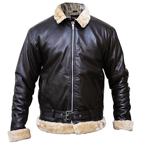 - Tom Hardy Dunkirk Pilot Aviator Bomber Flying Sherling Fur Genuine Sheep Leather Jacket,XL.
