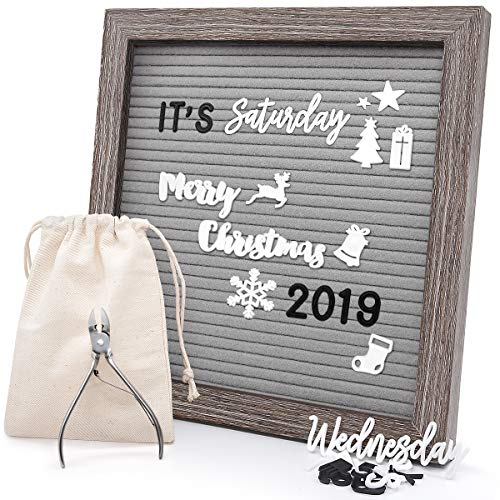 - Felt Letter Board 10x10 Inches, Gray Changeable Message Board with Stand & Wall Hook, 803 Black & White Letters, Emojis, Months & Weeks, Arabic Numerals, Canvas Bag and Scissors - Rustic Wood Frame