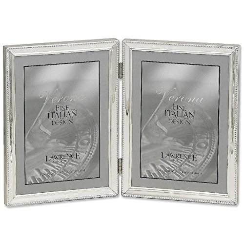 Lawrence Frames Polished Silver Plate 5x7 Hinged Double Picture Frame - Bead Border Design