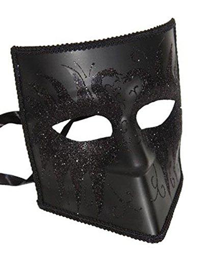 Zanni Venetian Mask - Male Masquerade Costume, Black w/Black Glittered Swans ()
