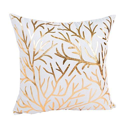 Pillow Case,Bokeley Cotton Linen Square Gold Foil Printing Decorative Throw Pillow Case Bed Home Decor Cushion Cover (B)]()