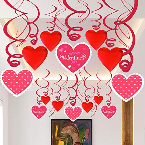 Hanging Heart Swirls,Valentines Decorations - Pack of 46 | Valentines Day Decorations | Valentines Day Party Favors | Valentine's Day Hanging Heart Decorations for Ceiling and Windows - Bridal Shower ()