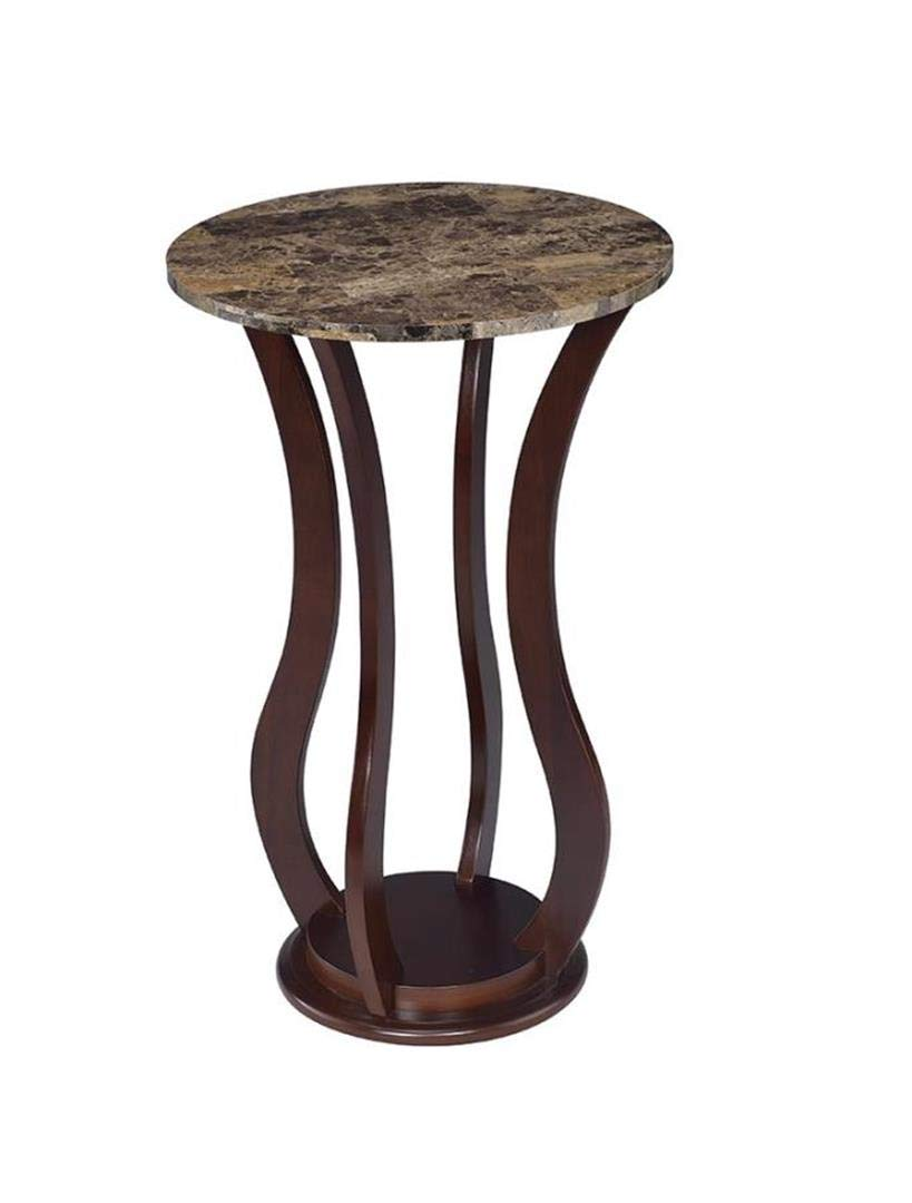 Coaster Home Furnishings Round Marble Top Plant Stand Brown by Coaster Home Furnishings