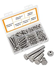 M6 Bolts and Nuts 304 Stainless Steel Hex Bolt Set Outer Hexagonal Hex Bolts and Nuts Hex Head Machine Screws Bolts