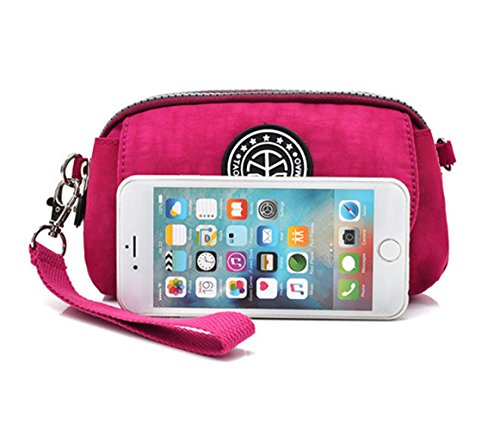 Small Shoulder Bag Wallet Phone Purse Crossbody Nylon Clutch Cell Women Wristlet resistant Red Water qnP0g