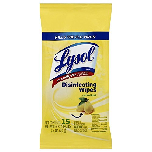 Lysol Disinfecting Wipes To-Go Pack, Lemon Scent, 15 Count