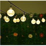 Solar String Lights,Hann 20ft 30 LEDs Crystal Ball Waterproof Outdoor String Lights Solar Powered Globe Fairy String Lights for Garden, Yard, Home, Landscape,Christmas Party