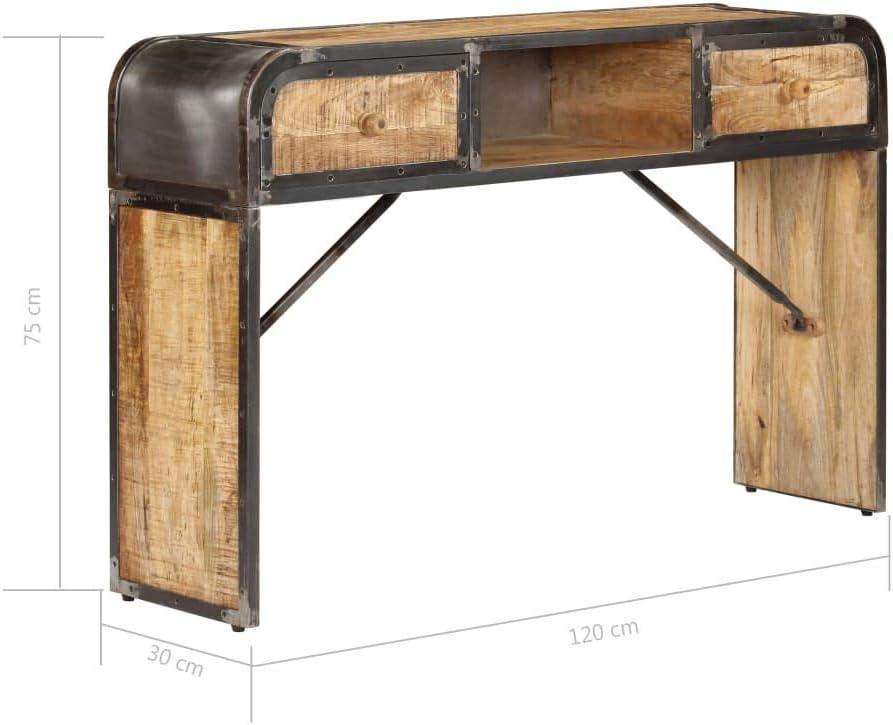 mueble recibidor industrial de metal y madera