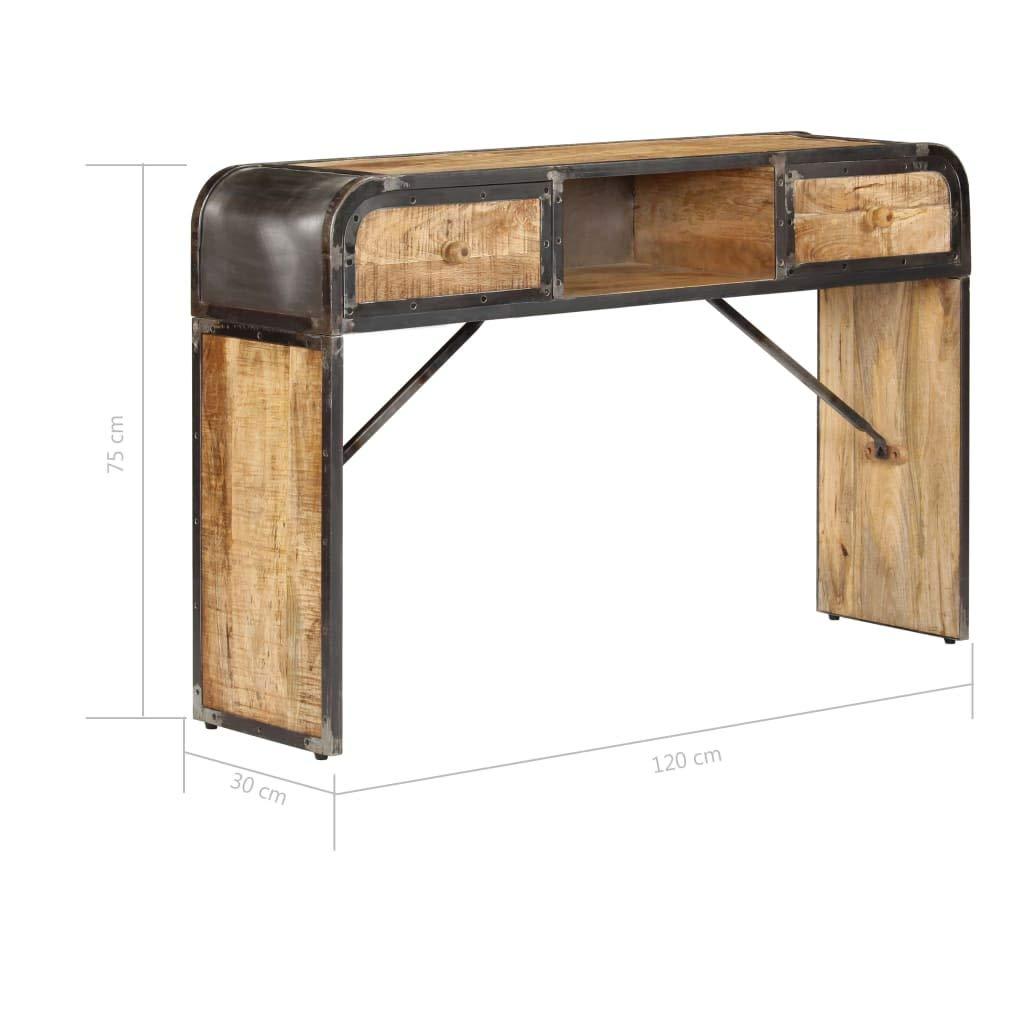 Industrial Flurtisch Massives Mangoholz und Eisenrahmen 120 x 30 x 75 cm Holz Konsole Ablagetisch Festnight Konsolentisch