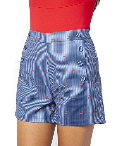Voodoo Vixen Zoey Women's Cherry & Railroad Stripe Print High Waist 8 Button Shorts Navy L (Bettie Retro Button)