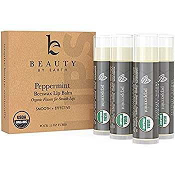 Lip Balm - Organic Peppermint 4 Pack, Natural Beeswax Clear Gloss Finish, Long Lasting Smooth Formula for Moisturizing & Hydrating Chapped, Cracked Lips with Best Mint Flavor, (Set of 4) Made in USA