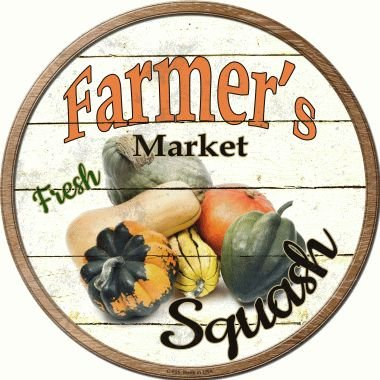 Smart Blonde Farmers Market Squash Novelty Metal Circular Sign C-625 from Smart Blonde
