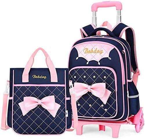 SELLA Abnehmbare Kinder Schultaschen Wasserdicht für Mädchen Trolley Rucksack Kinder Rolltasche Büchertasche Reisegepäck, 2 Stück Sets dunkelblau