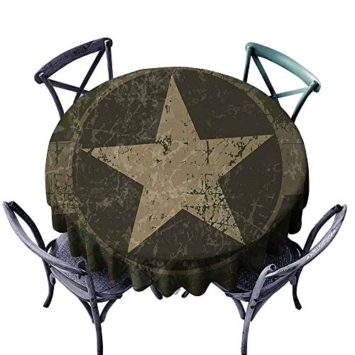 - Round Tablecloth 55 inch Camo,Grunge Dusty Dirty Design with a Star in Circle Undercover War Theme,Army Green Beige Dark Brown Great for Buffet Table, Parties, Holiday Dinner, Wedding & More