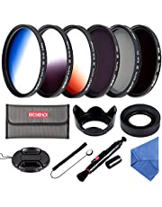 Beschoi 52MM ND Filter Kit (ND4 + ND8), Graduated Color Filter Set (Orange, Blue, Gray), CPL Filter, Collapsible Rubber Lens Hood, Tulip Lens Hood Bundle for Camera Lenses with 52mm Filter Thread