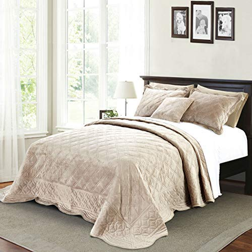 Taupe 110  x 120  Serenta Super Soft Microplush Quilted 4 PCs Bedspread Set. King, bluee Sapphire