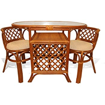 Amazon.com - Borneo Compact Dining SET Table with Glass Top +2 ...