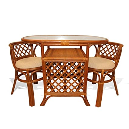 Borneo Compact Dining Set Table With Glass Top +2 Chairs Colonial Handmade  Natural Wicker Rattan