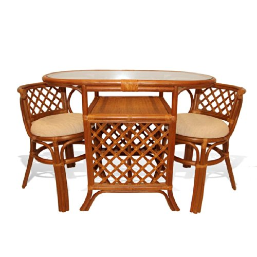 Borneo Compact Dining Set Table with Glass Top 2 Chairs Colonial Handmade Natural Wicker Rattan Furniture