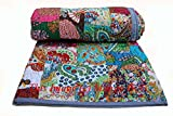 king handmade quilts - Indian Quilt Pure Cotton Premium Gudri (Quilt), Floral Print, King Size, Patch Work Quilt, King Size Bedspread 90