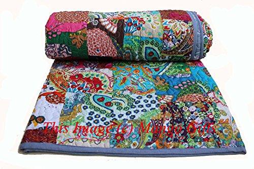 Mango Gifts Indian Quilt Pure Cotton Premium Gudri (Quilt), Floral Print, King Size, Patch Work Quilt, King Size Bedspread 90