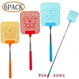 TANG SONG 6PCS Extendable Fly Swatter Durable Mosquito Zapper Bug Killer Insect Zappers Strong Flexible Manual Swat With Telescopic Handle(Red & Blue & Orange