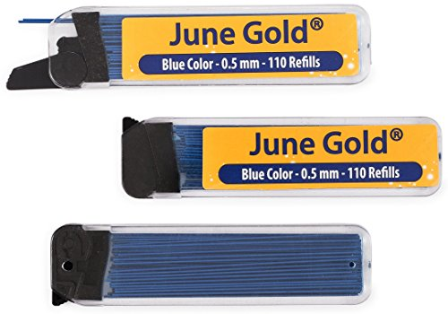 June Gold 330 Blue Colored Lead Refills, 0.5 mm, Fine Thickness for Delicate/Gentle Use with Convenient Dispensers
