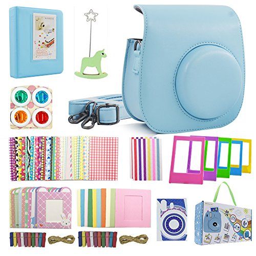 (Shaveh 13 in 1 Camera Accessories Set for Fujifilm Instax Mini 8/8+ Mini 9 Include Camera Case/Colored Filters/Wall Hang Frames/Film Frames/Border Stickers/Corner Stickers/Diamond Stickers(Light Blue))