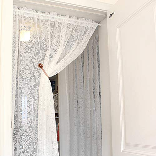 KMSG 1 Panel Room Divider Door Curtain Rod Pocket White Lace Sheer Curtains Valance 94 Inch Long Dining Room Kitchen Cafe Voile Curtain Tier Window Treatment Drapes Tulle for Living Room