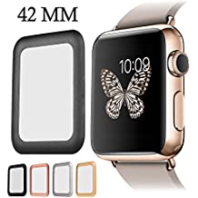 For Apple Watch Screen Protector, AYAMAYA Full Screen Coverage [Real Tempered Glass] Bumper Case with 3D Curved Edge & High Defintion for Apple Watch 42mm Series 3/2/1 (Black)