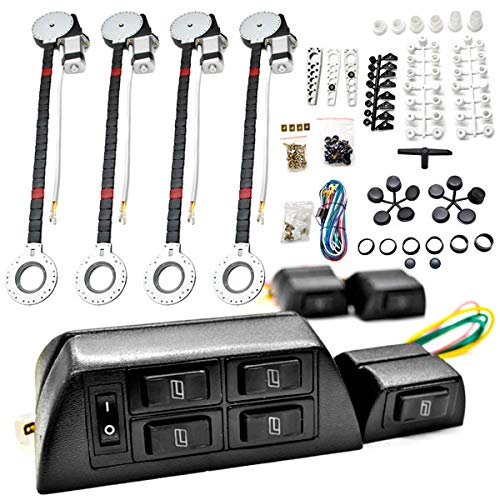 Biltek FULL COMPLETE CAR TRUCK 4 WINDOW AUTOMATIC POWER KIT WITH 7 SWITCHES KIT (Best Power Window Kit)
