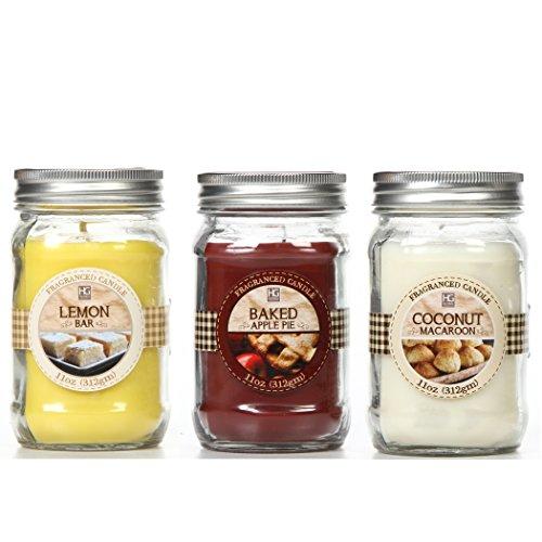 Baked Apple Pie - Hosley Set of 3 Mason Jar Candles: Baked Apple Pie, Coconut Macaroon, Lemon Bar. 11 oz Each. Ideal Gift for Wedding, Party Favor, Bridal, Spa, Reiki, Meditation, Survival Bathroom Settings O9