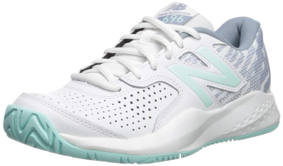 New Balance Women's 696v3 Hard Court Tennis Shoe, White/Light Reef, 5 B US