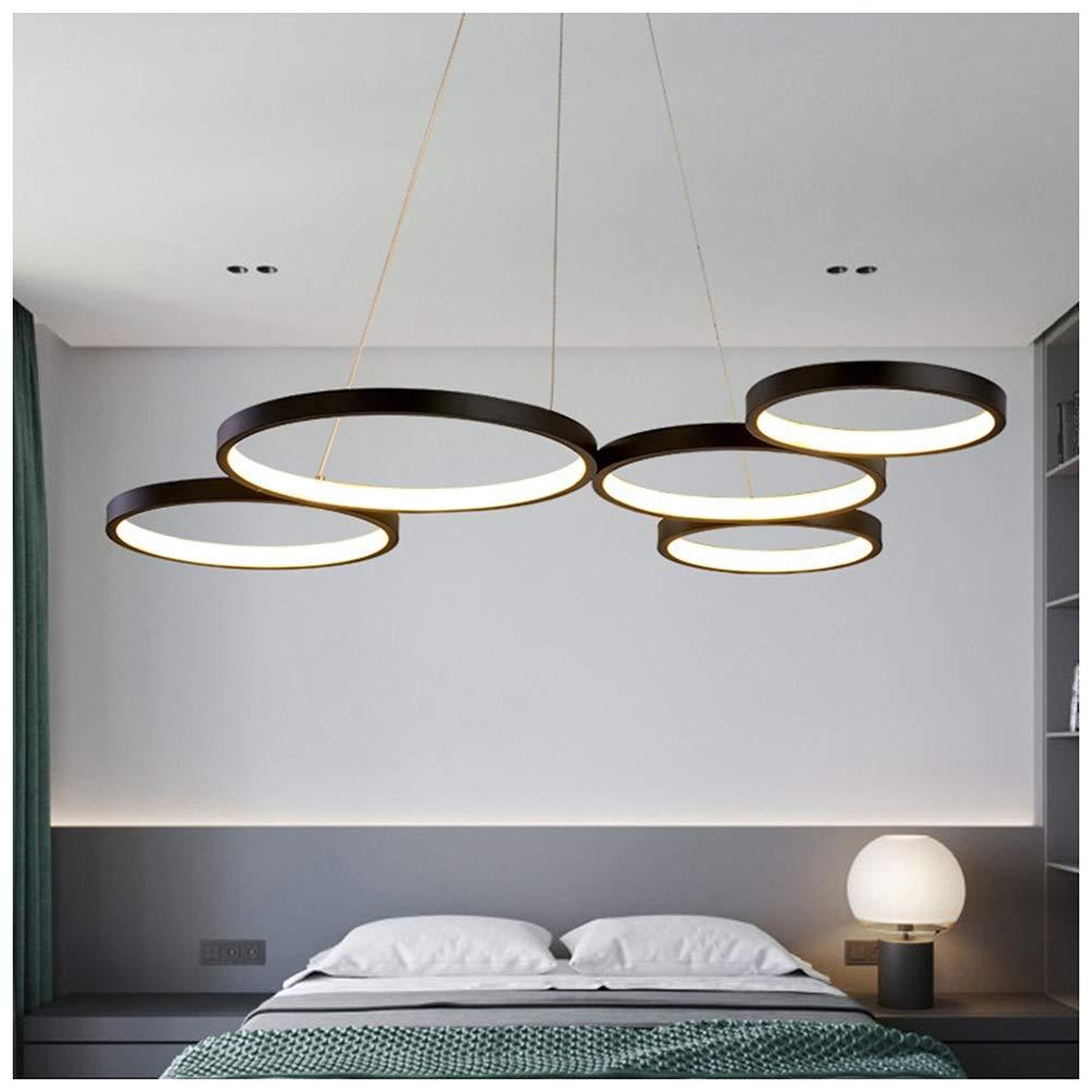 Light-S クリエイティブペンダントライトサークルファイブリングレストランシャンデリア寝室現代シンプルなLED天井照明器具 - 黒   B07TQT2ZZZ