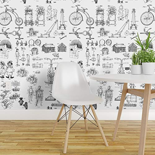 Retro Toys Wallpaper Roll - Patent Drawings Bw Paper Drawing Ancient Parts Teddy Bear Toy Doll Block Pogo Child by Studiofibonacci - 1 Roll 24in x 27ft from Roostery
