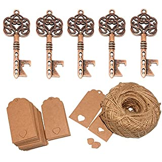 Yansanido Pack of 50 Skeleton Key Bottle Opener for Wedding Favors with Escort Tag Card and Twine for Guests Party Favors Gift & Decorations (B Red Copper)