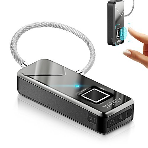 YAHEY Fingerprint Lock, The New Upgrade Portable Smart Biometric Padlock Security No Password Waterproof and Anti-Theft Padlock for Golf Bag,Suitcase,Gym Locker,Cupboard,Drawer,Door and More (Black)
