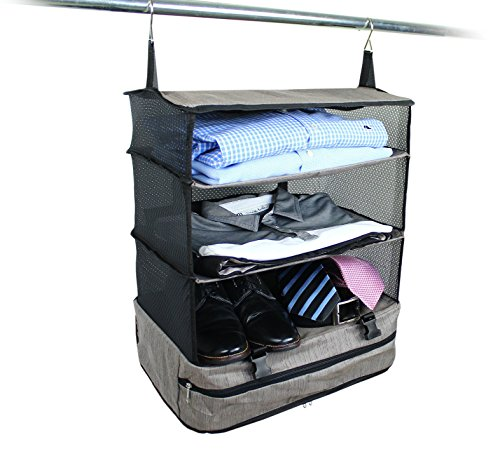 Stow-N-Go Portable Luggage System Suitcase Organizer - Large, GRAY, Packable Hanging Travel Shelves & Packing Cube Organizer