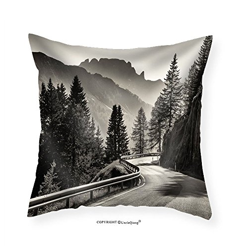 VROSELV Custom Cotton Linen Pillowcase Country Road at the European Alps - Fabric Home Decor - Road Quilt To Oklahoma