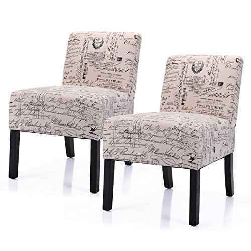 LAZYMOON Leisure Armless Chair Modern Contemporary Upholstered French Script Couch Seat Accent Chair Living Room Chair Set(2 PCs) (Best Accent Chairs For Living Room)